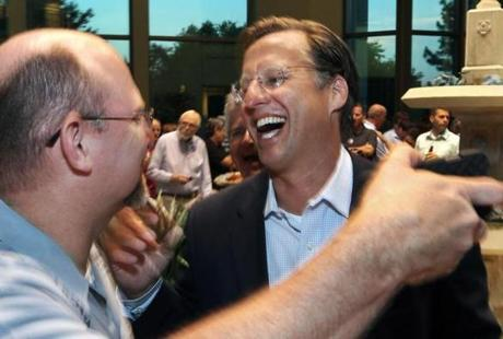 "David Brat (right), Cantor's challenger, called the result ""an unbelievable miracle."""